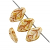 Glass Bead Leaf 12x7mm White/ Brown Luster Strung